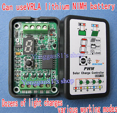 3A 6V 12V PWM Solar Panel Light Controller Battery Charge Regulator Inteligente