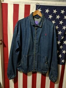 Vintage-Polo-Ralph-Lauren-Denim-Harrington-Zip-Up-Jacket-Size-L-VTG-Ralph-Jean