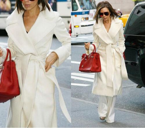 New White Fashion Women/'s Wool Cashmere Winter Noble Long White Jacket Coat G77