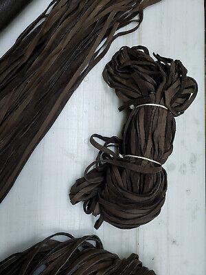6mm Chocolate Brown Deer Buckskin Laces 14 Inch Wide Straight Cut