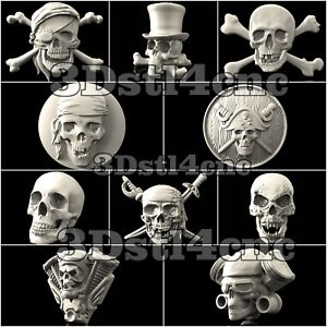 10-3D-Models-STL-CNC-Router-Artcam-Aspire-Skulls-Pirat-Collection-Cut3D-Vcarve