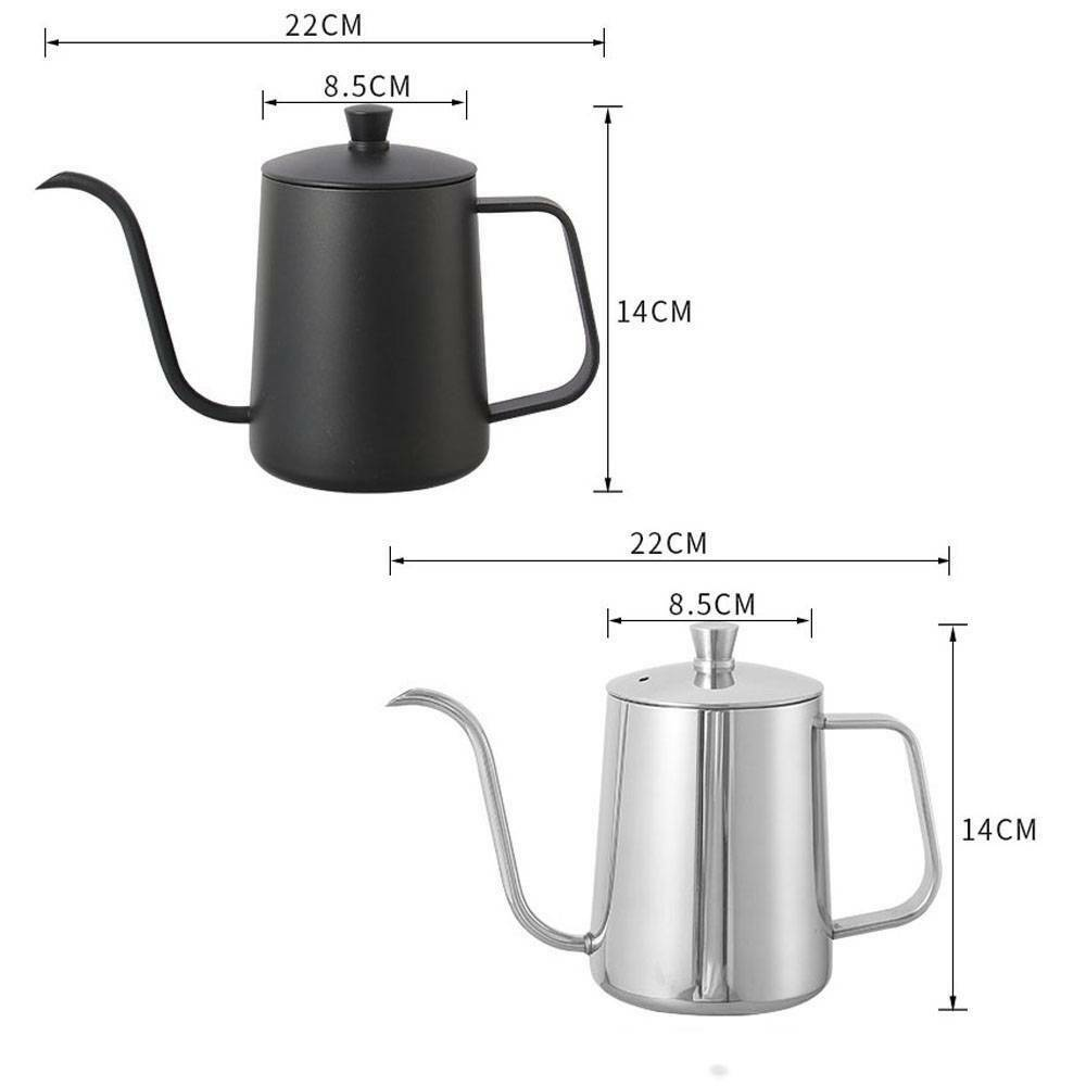 600ml Kettle Coffee Maker Stainless Steel Gooseneck Drip Tea Pot Jug Can Kitchen