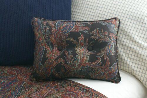 NEW Custom Ralph Lauren Bedford Hunt Paisley Accent Pillow Button