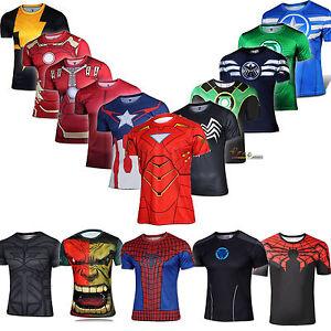 Men-039-s-Superhero-Fitness-T-Shirt-Running-Shirt-Tops-Short-Sleeve-Sports-GYM-Tee