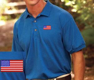 46112a9c USA Flag EMBROIDERED Royal Blue Polo Shirt