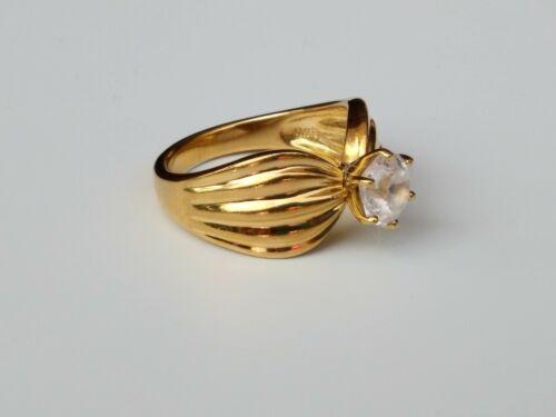Diamonique 100-Facet Fluted Band Ring 14k Clad