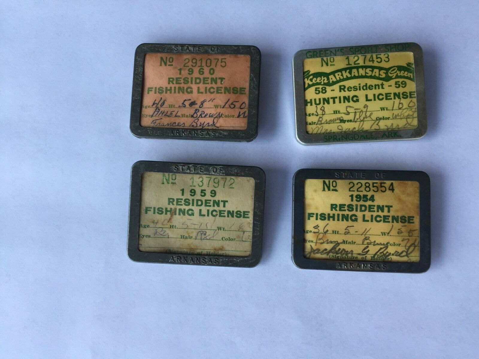 Antique Fishing  License Holders 1954 -1960  big sale