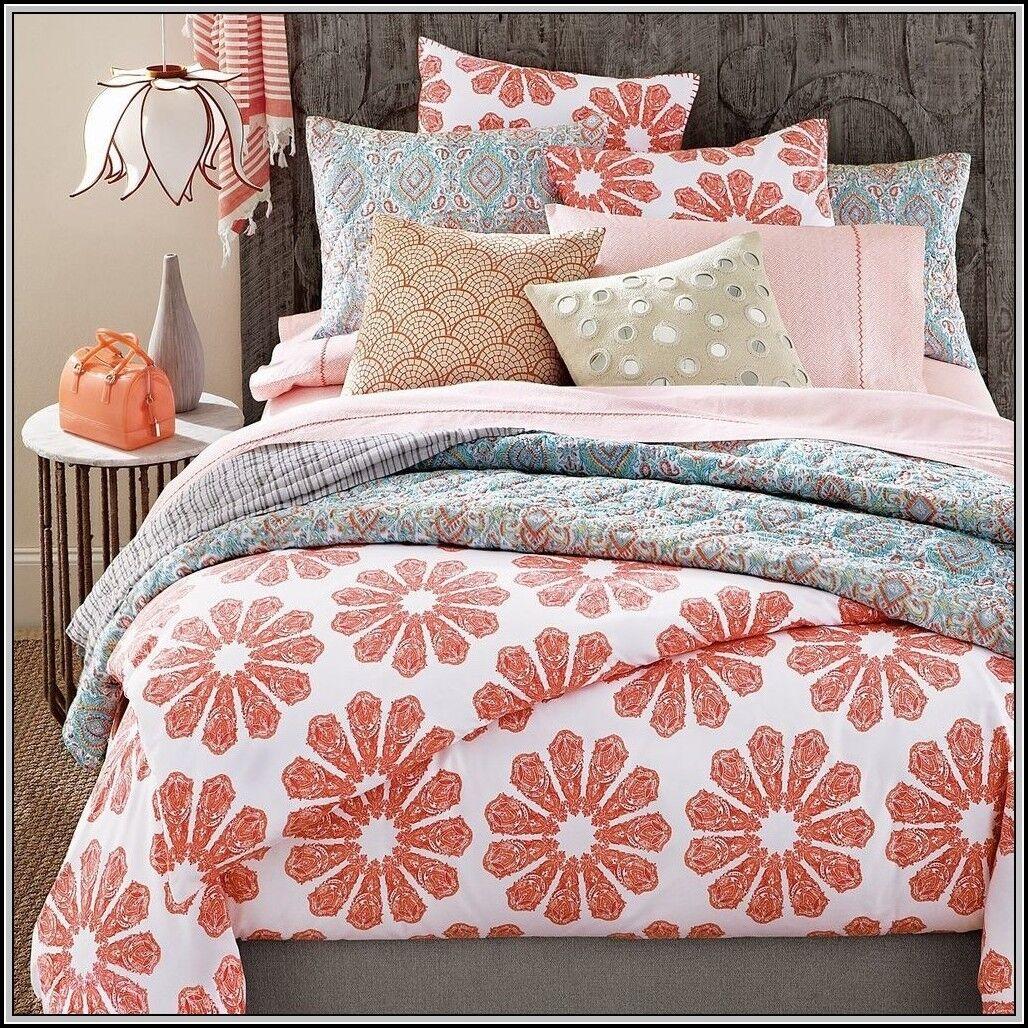 495 John Robshaw Textiles Pondicherry KING Duvet Cover Coral Flower Batik Print