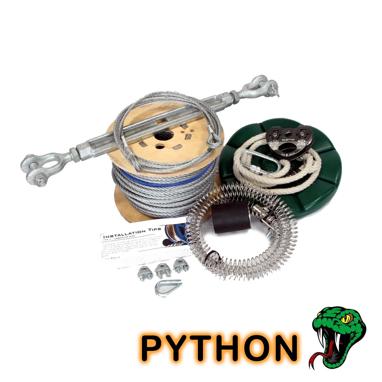 Python 50m Jardín cremallera Alambre Paquete   tirolina Kit De 8 Mm De Cuerda de alambre botón + Asiento