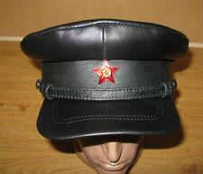 Soviet Russian NKVD 100% Leather Visor Cap Hat Army Military Hat
