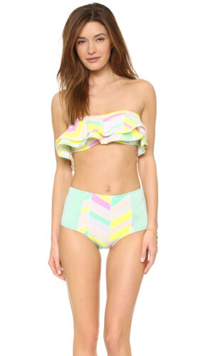 ZINKE Women/'s Mint Chevron Print Ruffle Reese Bandeau Bikini Top $92 NEW