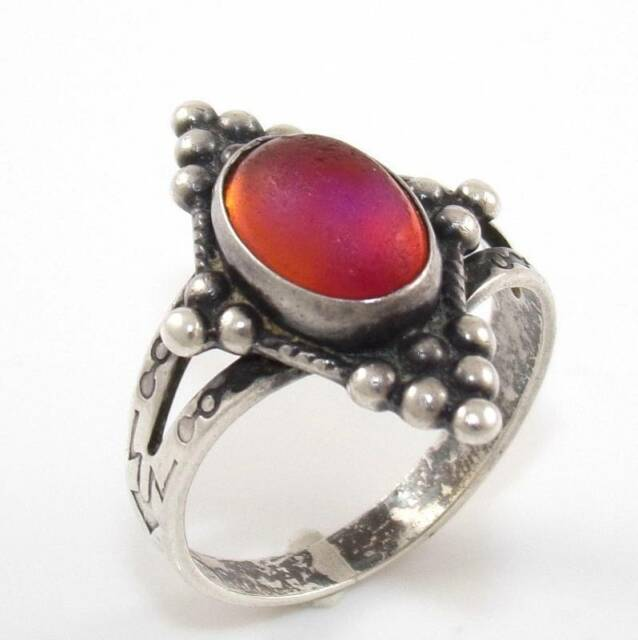 Vintage Sterling Silver Dragons Breath Ring Size 6.25