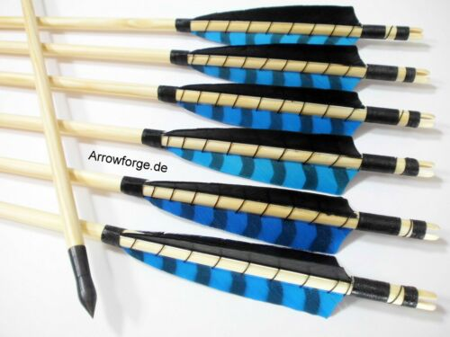 "6 Holzpfeile Selfnock Pfeile Langbogen Recurve 5/"" Shield Blau Barred Schwarz"