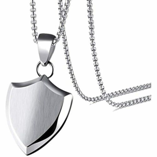 Xusamss Fashion Titanium Steel Triangle Shield Tag Pendant Necklace With 24 Inch
