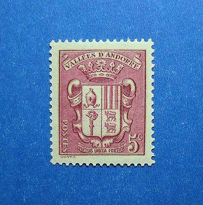 Genteel 1936 Andorra French 5c Scott# 68 Michel # 52 Unused Nh Cs26621 Andorra Europe