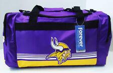 """Minnesota Vikings DUFFEL Bag Stripes Gym Training New 20"""" x 11"""" x 11"""" NFL"""