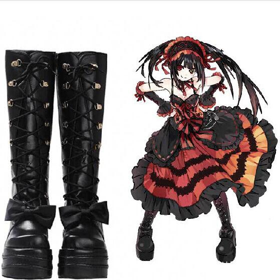 DATE A LIVE Tokisaki Kurumi High Stiefel Martin Stiefel Cosplay Costumes Schuhes