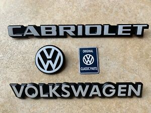 Mk1-Golf-GTI-Cabriolet-FULL-REAR-Badge-SET-in-WHITE-3-Pieces