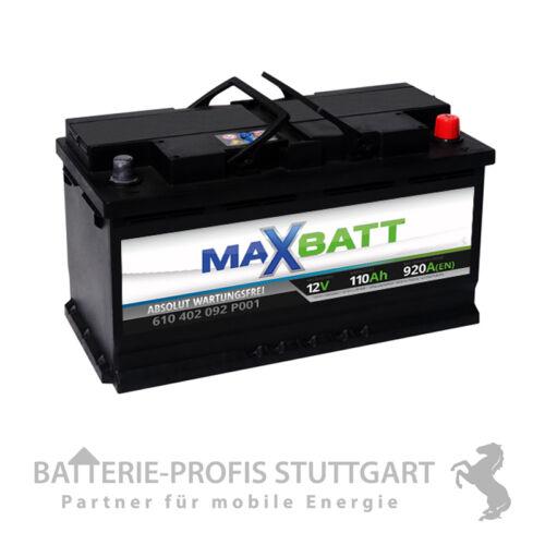 MaxBatt Autobatterie 12V 110Ah 920A ersetzt 102Ah 105Ah 107Ah