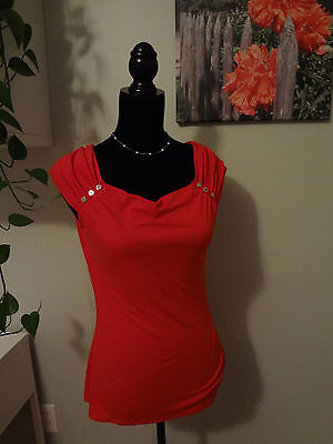 White House Black Market WHBM Cap Sleeve Red Studded Sleeveless Top Size Small