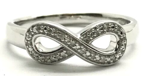Sterling Silver Diamond Pave Infinity-Forever petite Cocktail Band Ring Taille 7