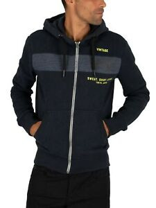 Superdry-Men-039-s-Sweat-Shirt-Shop-Magma-Panel-Zip-Hoodie-Blue