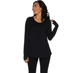 AnyBody-Loungewear-Cozy-Knit-Relaxed-Peplum-Top-Color-Black-Size-XS