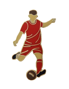 All Red Football Player Gold Plated Pin Badge