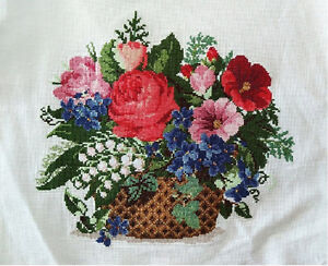 New-Finished-completed-Cross-stitch-Flowers-Basket-home-decor-Gifts