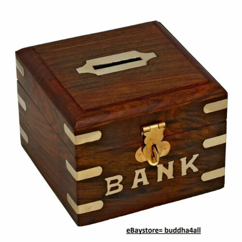 Handcrafted Wooden Square Money Bank Square bank box