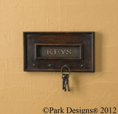 Park Designs Decorative HOOK written Keys On wood brass Key Hook 4 hooks wall