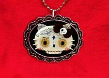 HELLO SUGAR SKULL KITTY DAY OF DEAD BLUE PENDANT NECKLACE