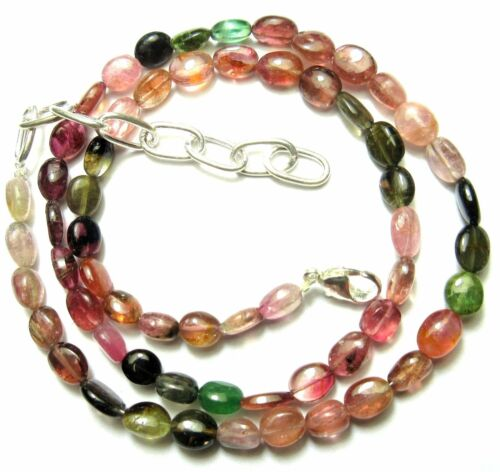 "85.60 Ct Natural Multi Tourmaline Gemstone Oval Smooth Beads 19"" NECKLACE S14"