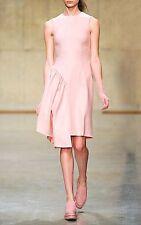 New Simone Rocha Pink Wool Felt Asymmetric Ruffle Dress uk 10