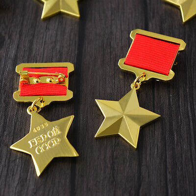 Copy Full Size Gold Star Award HERO OF RUSSIA Order Medal