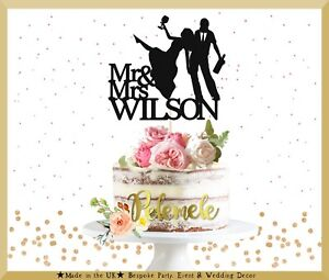 Funny Mr Mrs Cake Topper Wedding Cake Topper Silhouette Wedding