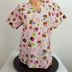 Carols-Scrubs-Small-6-Scrub-Top-Pink-V-Neck-Pockets-Cupcakes-Candy
