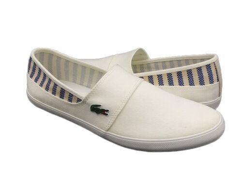 Lacoste Marice 219 Men/'s Casual Toile Mocassin Chaussures Baskets Noir Blanc Nouveau