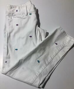 LILLY-PULITZER-Worth-Skinny-Embroidered-Fish-White-Ankle-Jeans-Pants-Size-2
