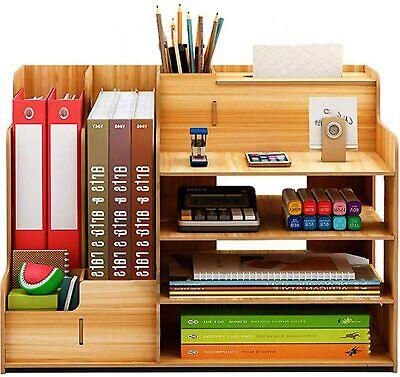 Holz Desktop Organizer Aufbewahrungsbox Büro Stationery Document Storage Ständer