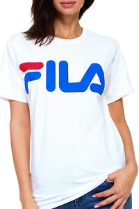 4f2510a26 WOMEN'S FILA CLASSIC PRINTED LOGO T-SHIRT LOOSE FIT RELAXED TOMBOY ...