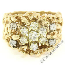 Vintage 14K Yellow Gold 0.57ctw Diamond Cluster Wide Open Nugget Band Ring Sz 7