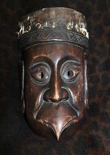 "Fine Antique ""Garuda"" Wood Mask with Brass Tacks of Unknown Origin 9""h x 6""w"