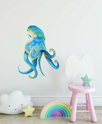 Watercolor Octopus #3 Wall Decal Blue Green Octopus Wall Sticker Ocean Nursery