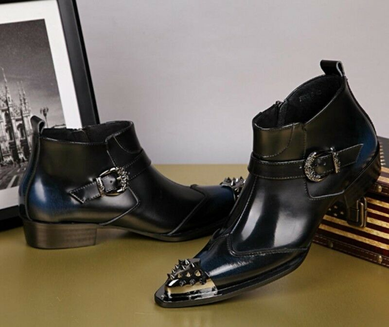 Fashion Metal Head Genuine Leather Dress Formal Ankle Boots Mens shoes Wedding