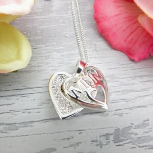Equilibrium-MUM-Silver-Plated-SPARKLE-Love-Heart-NECKLACE-Mother-039-s-Day-Gift