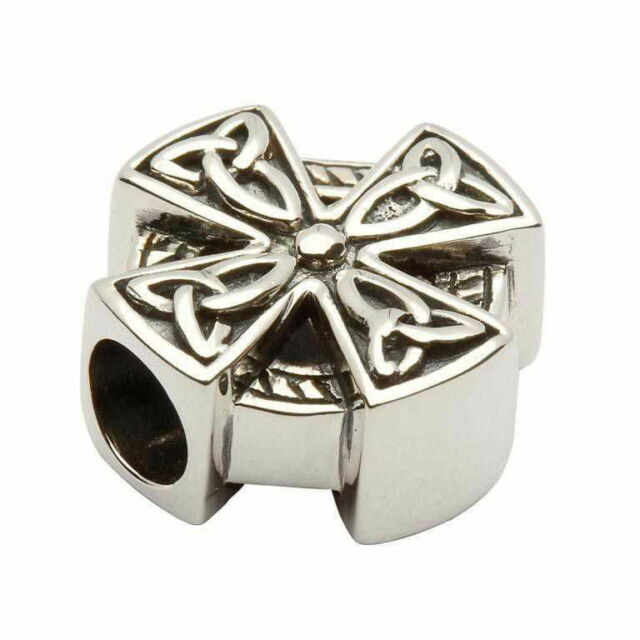 Celtic Charm: Tara's Diary Sterling Silver Irish Trinity Knot Cross Bead td42