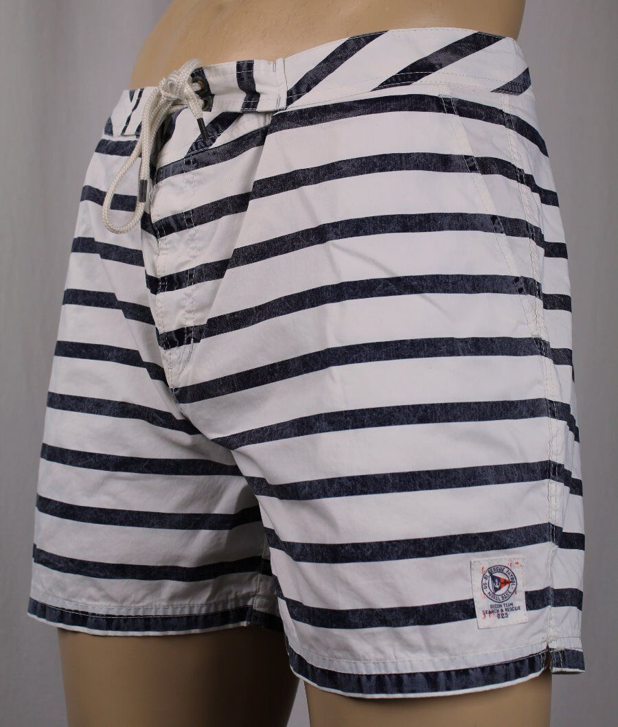 Ralph Lauren Navy bluee Stripe Recon Swim Shorts Trunks NWT