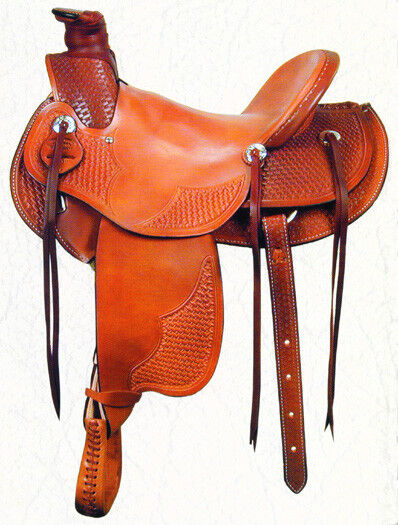 Western talladas a mano de cuero tostado amarrar Rancho silla con cuerdas 17
