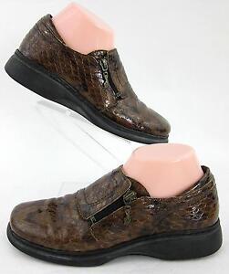 04126bf3e Helle Comfort Romu s Slip On Shoes Brown Patent Snake Print Sz 39 EU ...